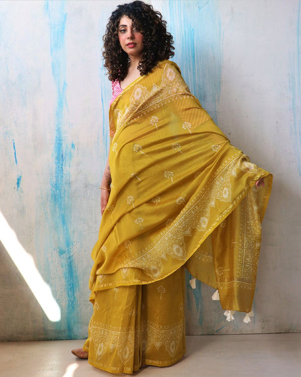 Sunaheri Block Printed Chanderi Saree