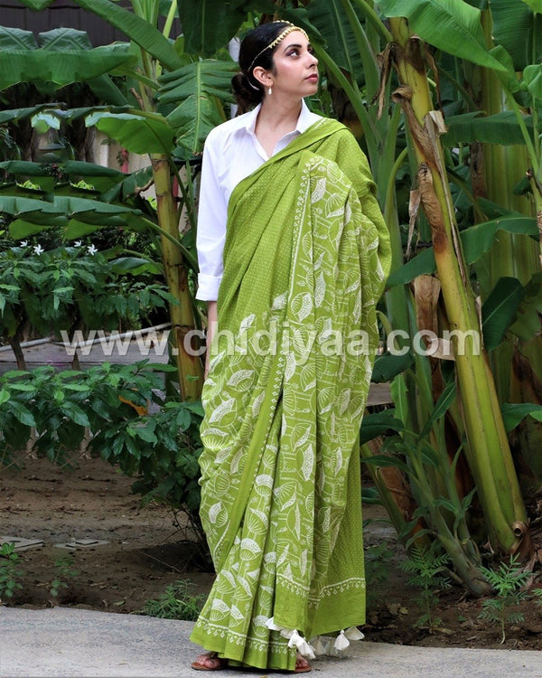 Green blockprinted cotton mul saree