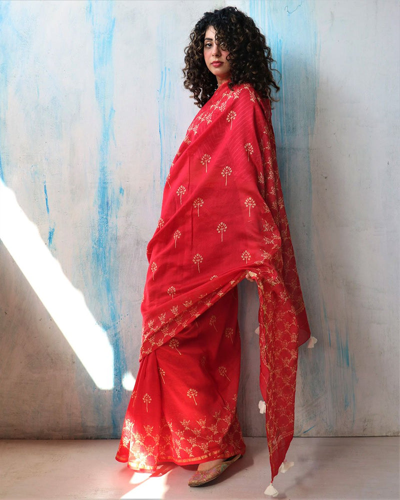 Red Sunaheri Block Printed Chanderi Saree