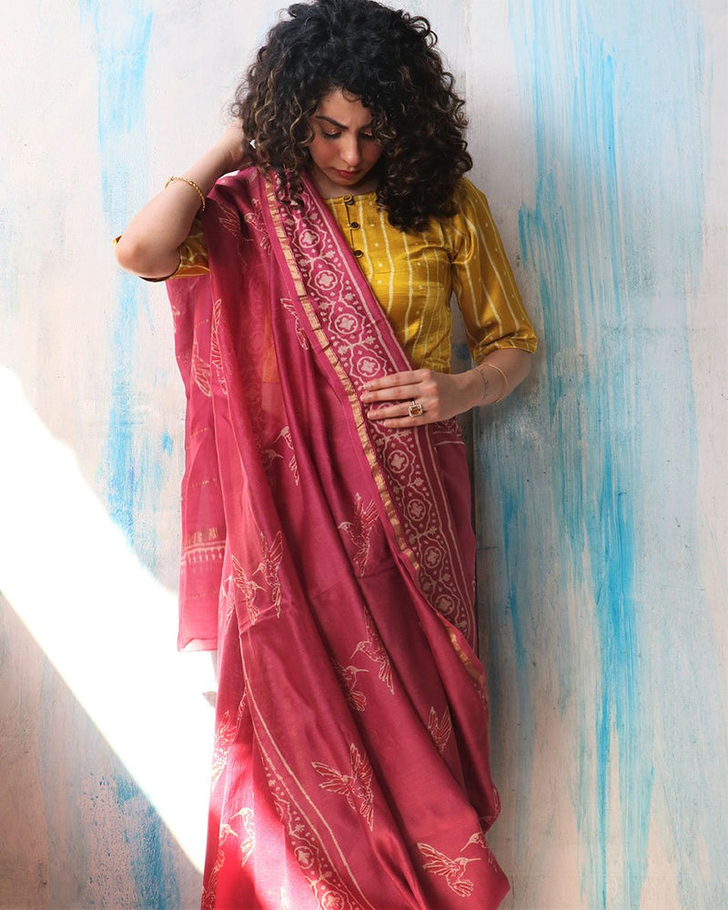 Pink Sunaheri Block Printed Chanderi Saree