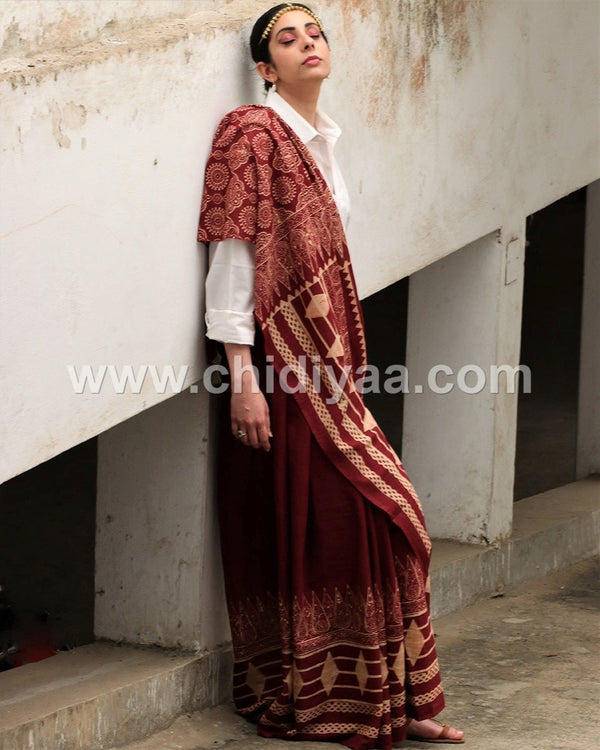 Maroon blockprinted cotton mul saree
