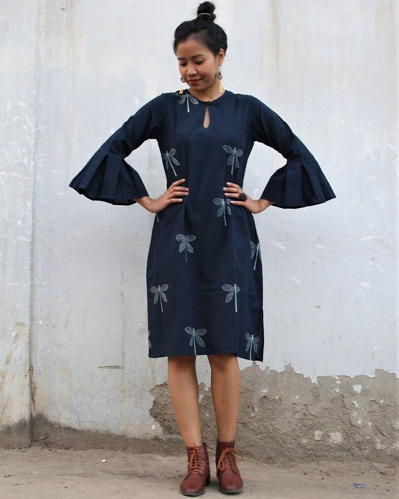 Blue Dragonfly Bell sleeves Dress