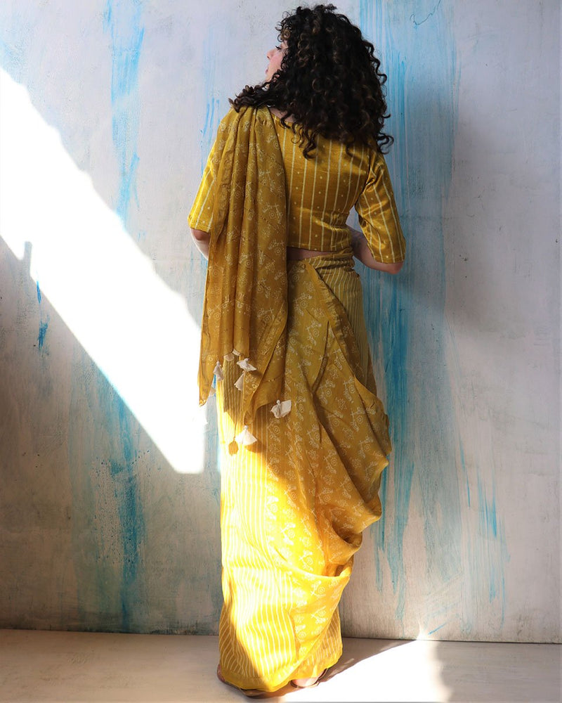Sunaheri Jal Block Printed Chanderi Saree