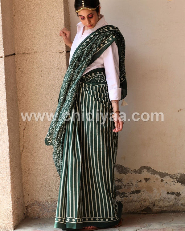 Bottle green jal blockprinted cotton mul saree