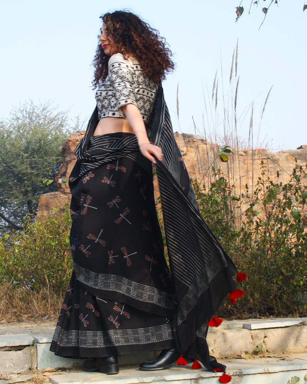 Black Dragonfly Block Printed Cotton Mul Saree
