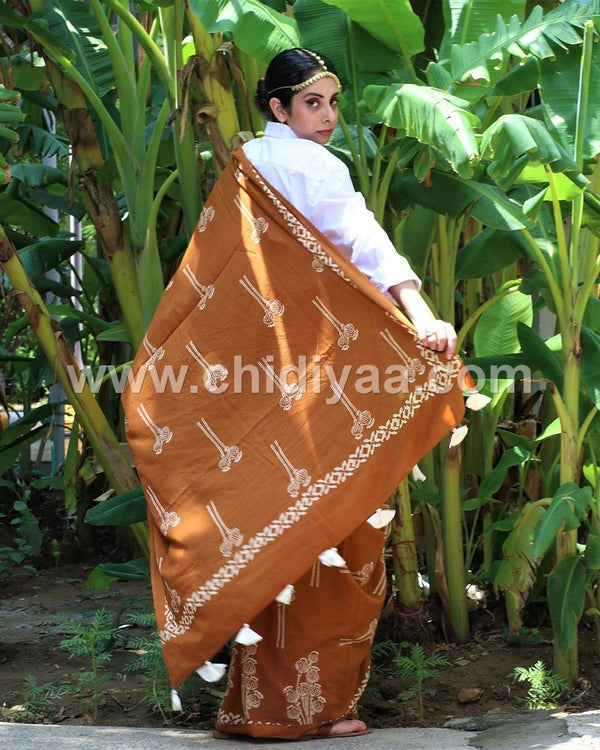 Rust blockprinted cotton mul saree