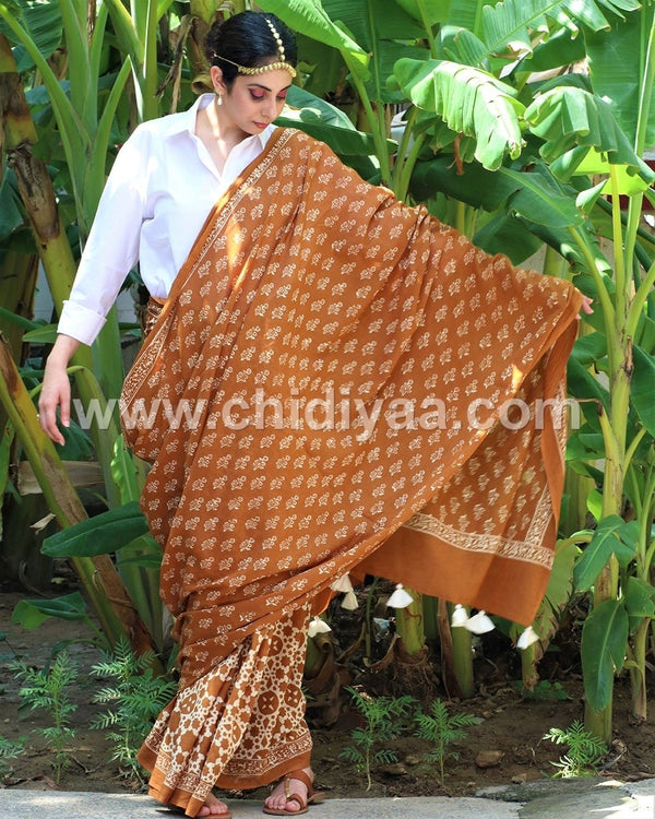 Rust jal blockprinted cotton mul saree