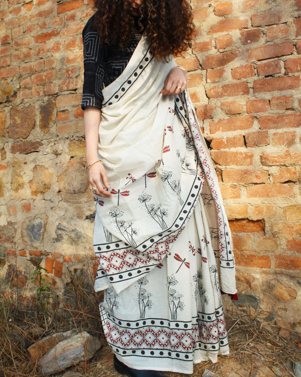 Ivory Dragonfly Block Printed Cotton Mul Saree