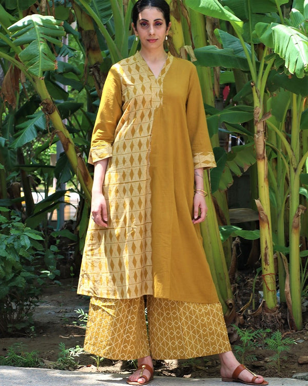 MUSTARD BLOCKPRINTED COTTON KURTA