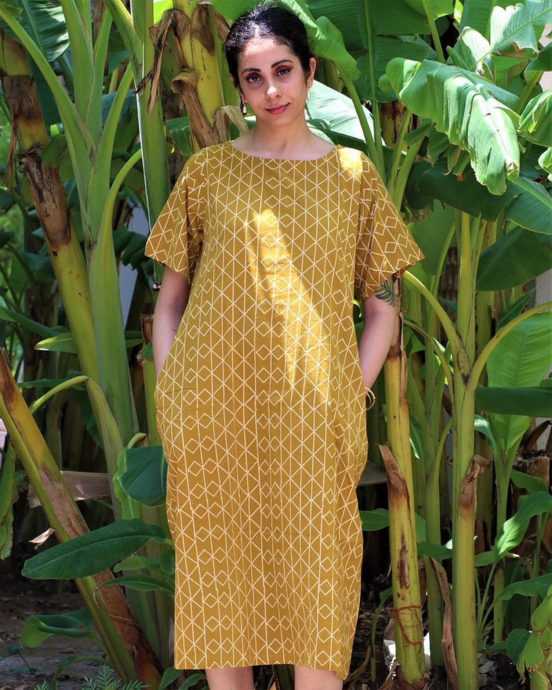 MUSTARD BLOCKPRINTED COTTON DRESS