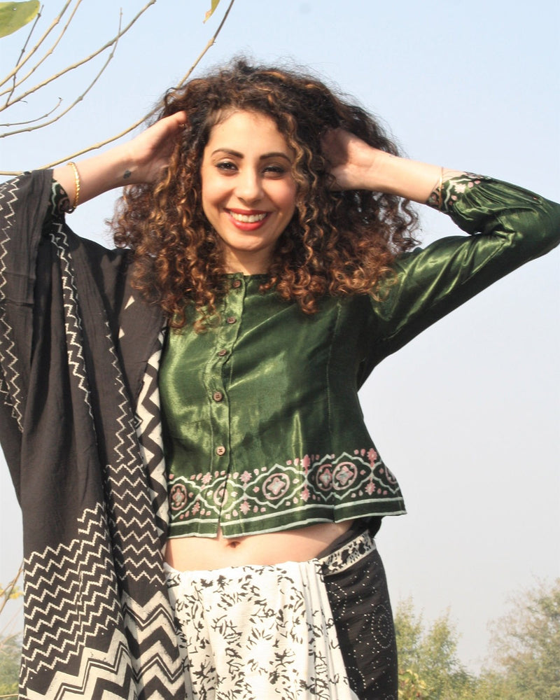 GREEN BLOCK PRINTED CROP TOP BLOUSE IN MASHRU SILK