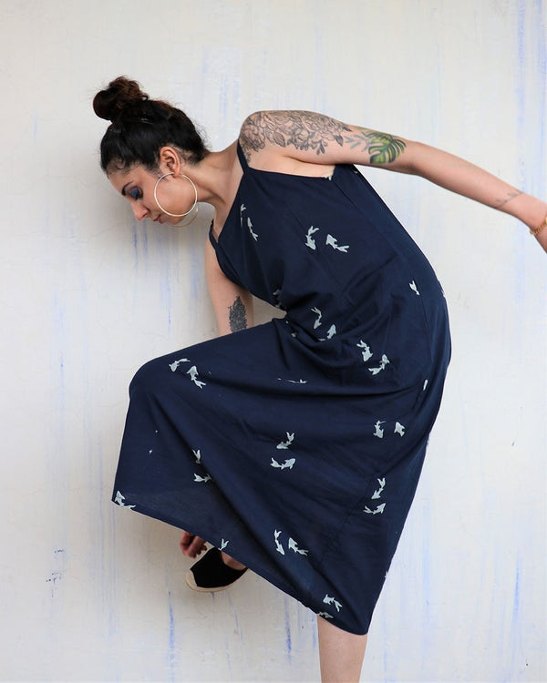 BLUE FISH BLOCKPRINTED COTTON DRESS