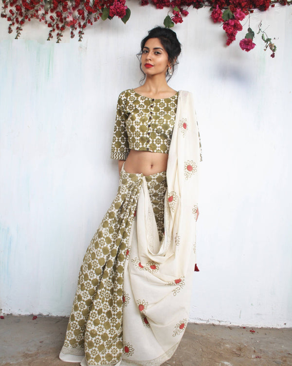 Ivory Olive Block Printed Cotton Mul Saree