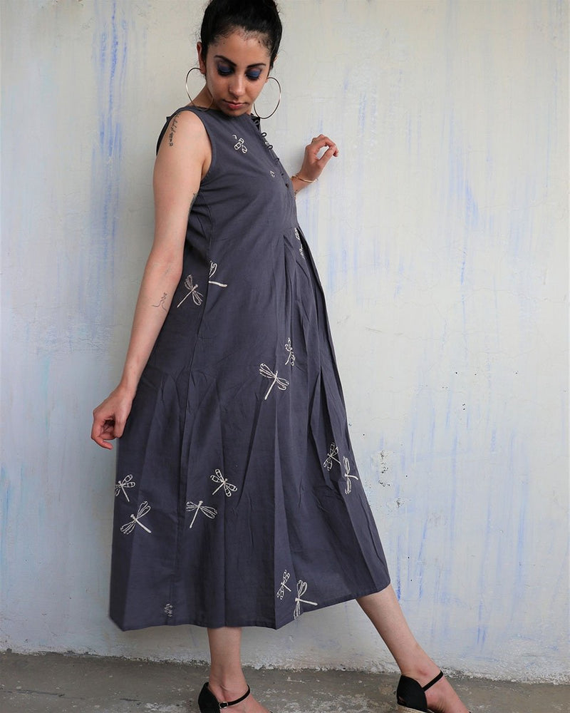 GREY DRAGONFLY BLOCKPRINTED DRESS