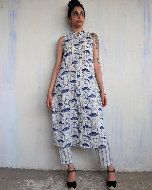 WHITE BLUE BLOCKPRINTED  KURTI