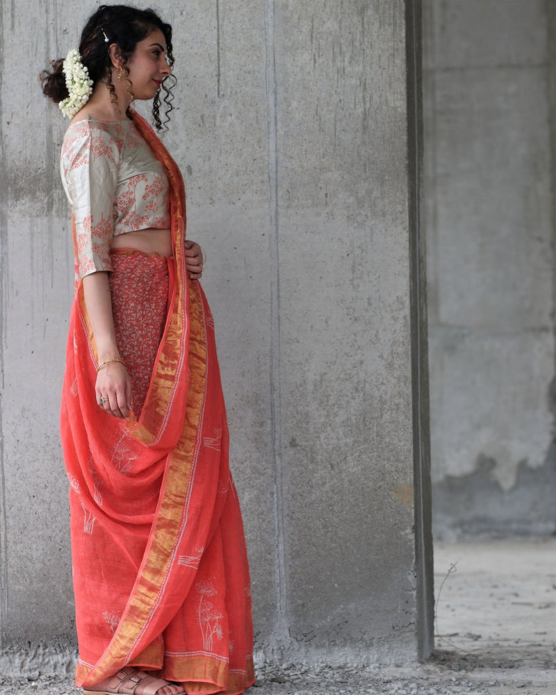 Coral Block Printed Saree Pure Handwoven Linen