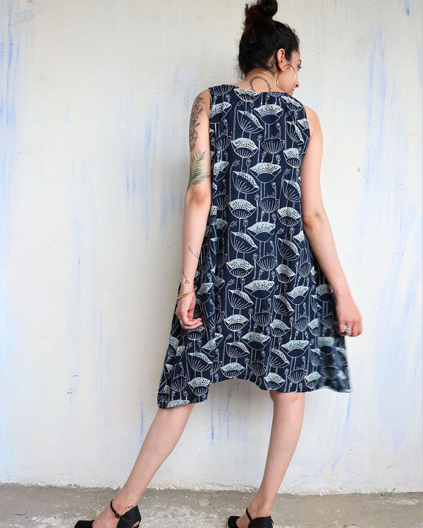 BLUE BLOCKPRINTED COTTON DRESS