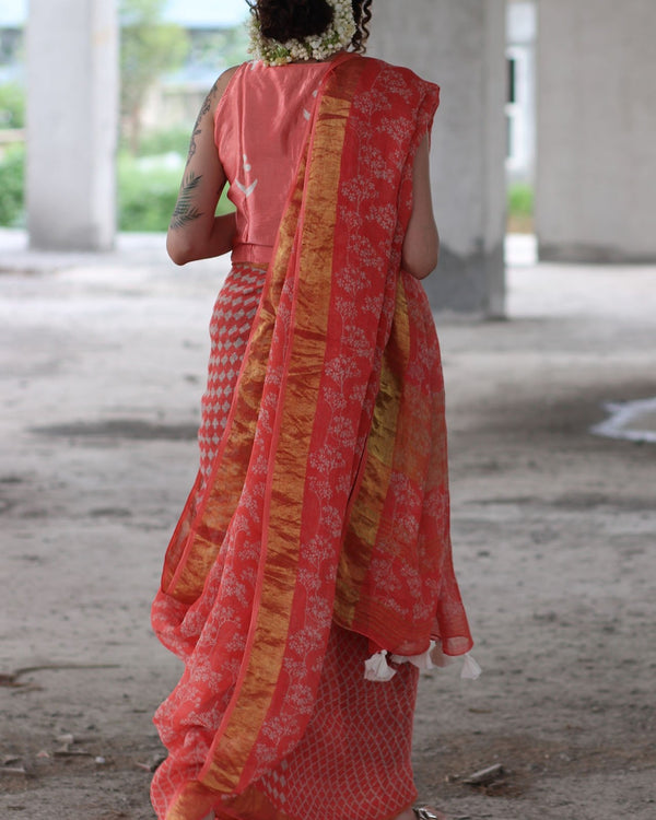 Coral Ivory Block Printed Saree Pure Handwoven Linen