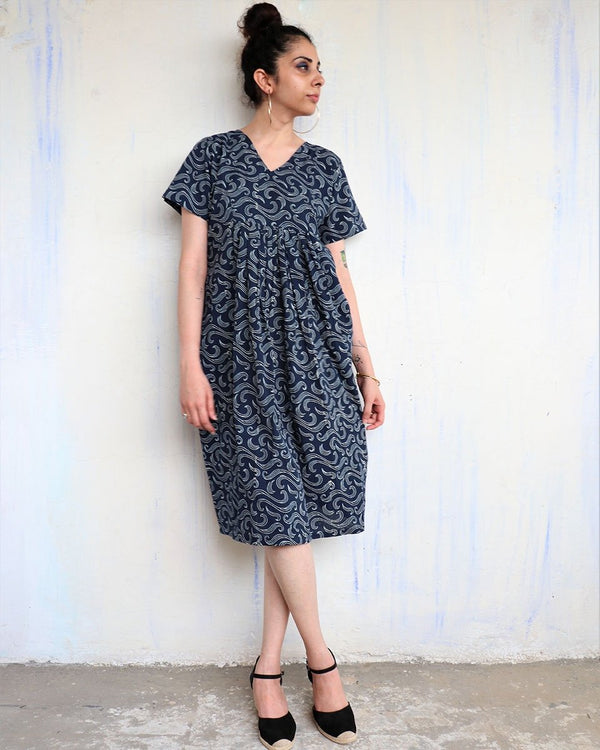 BLUE WAVES BLOCKPRINTED COTTON DRESS