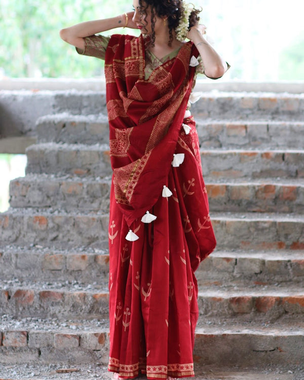 Maroon Gul Block Printed Pure Chanderi Saree