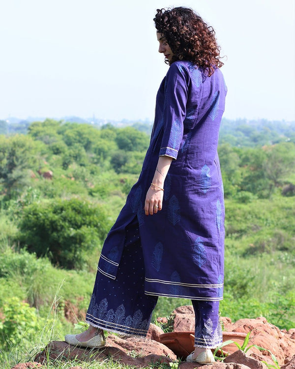 BLUE HANDPRINTED KURTI WITH GOTA DETAILS