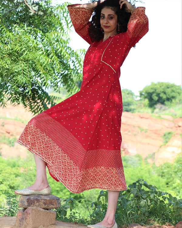 RED HANDPRINTED DRESS WITH GOTA DETAILS