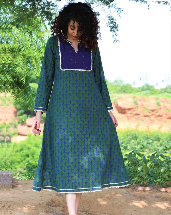 GREEN HANDPRINTED DRESS WITH GOTA DETAILS