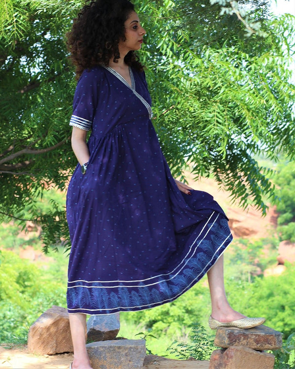 BLUE HANDPRINTED DRESS WITH GOTA DETAILS