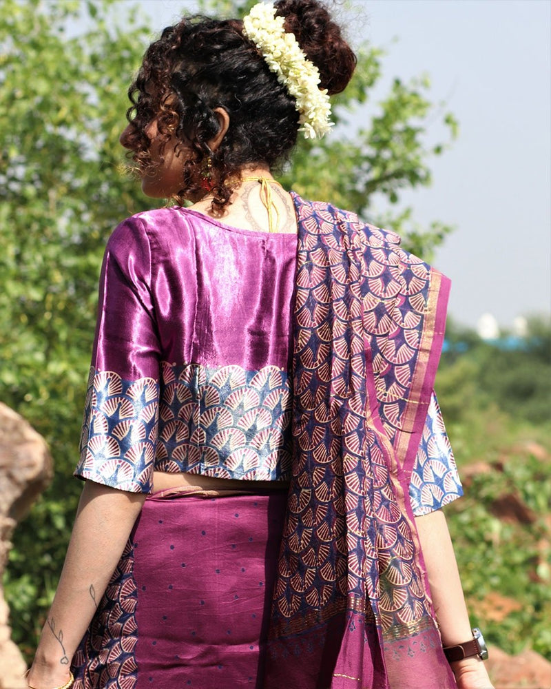 MAUVE MASHRU SILK CROP TOP BLOUSE