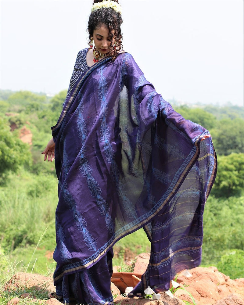 Blue Block Printed Pure Chanderi Saree