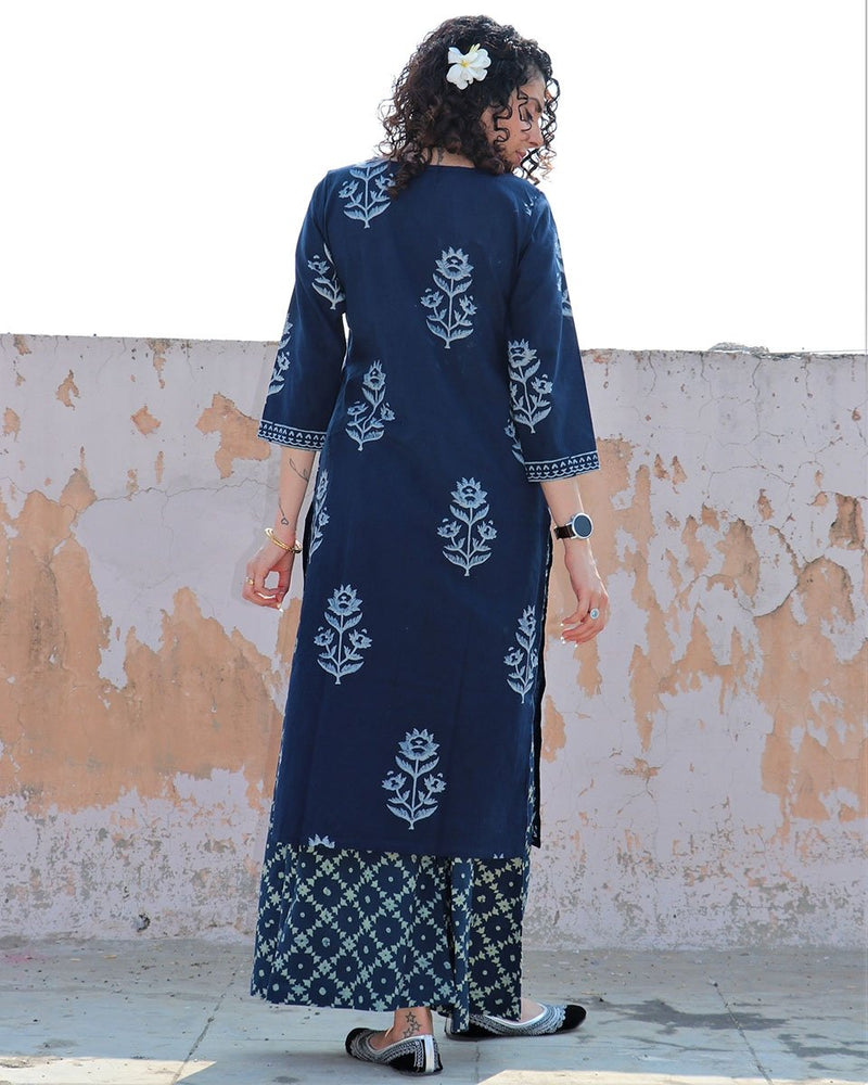 BLUE BLOCKPRINTED COTTON KURTI