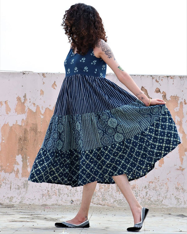 BLUE SLEEVELESS  BLOCKPRINTED COTTON DRESS