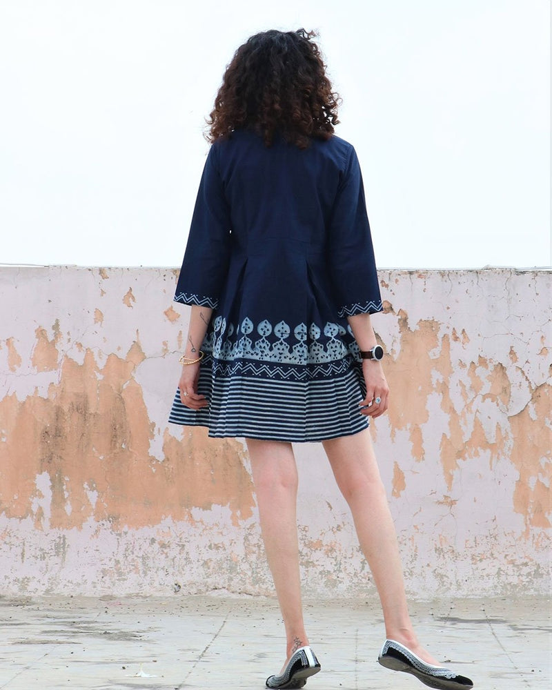 BLUE BLOCKPRINTED COTTON PLEATED DRESS