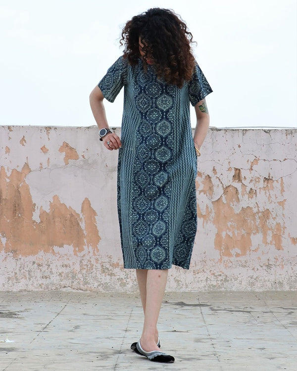BLUE JAL BLOCKPRINTED COTTON DRESS