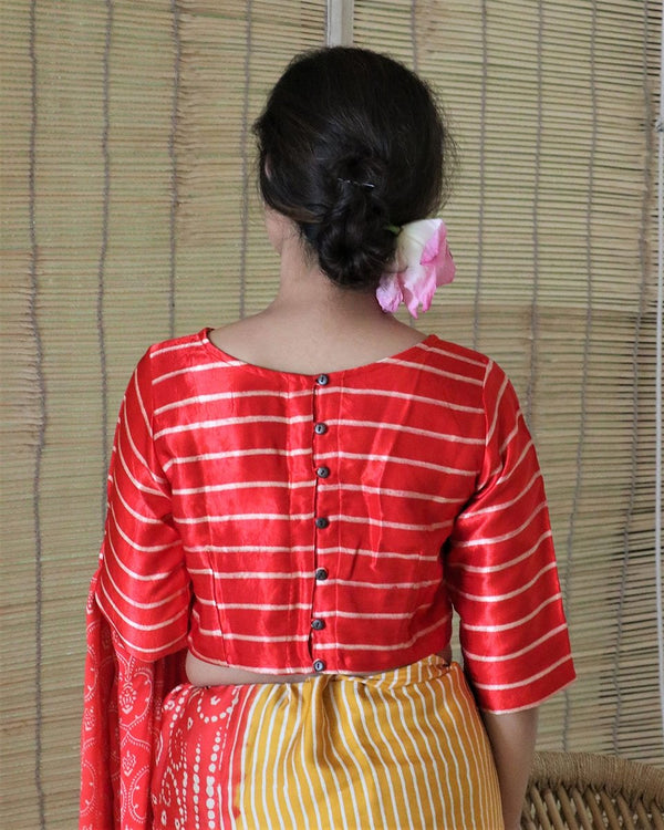 RED BLOCKPRINT MASHRU CROP TOP