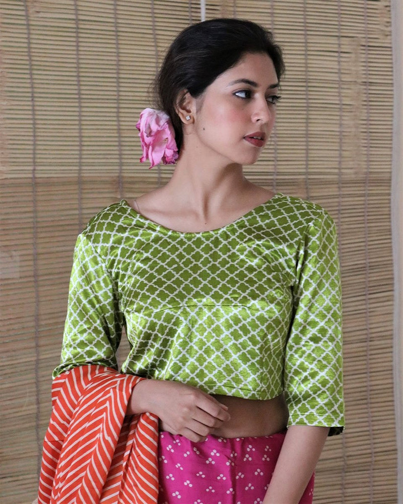PARROT GREEN BLOCKPRINT MASHRU CROP TOP