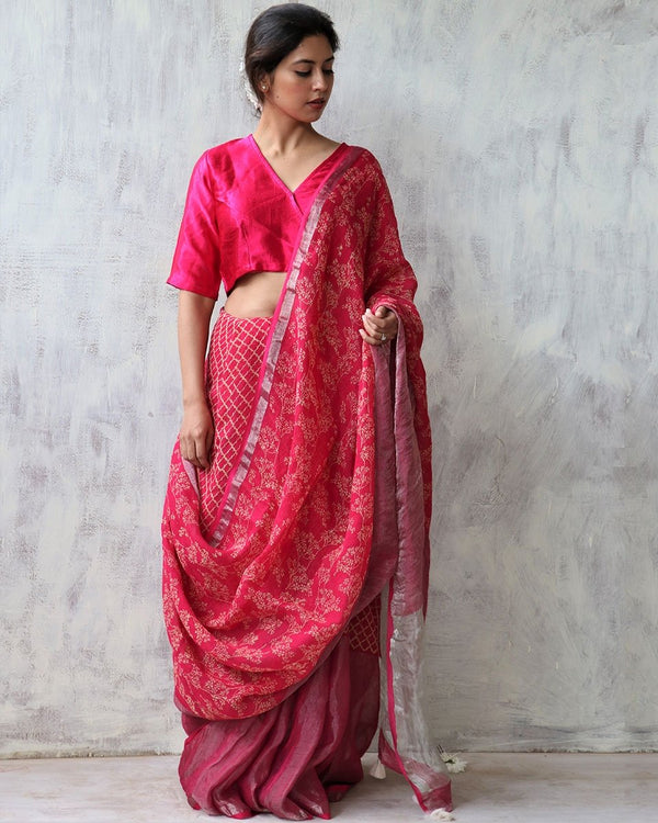 Gulabi BlockPrinted Pure Handwoven Linen Zari Saree