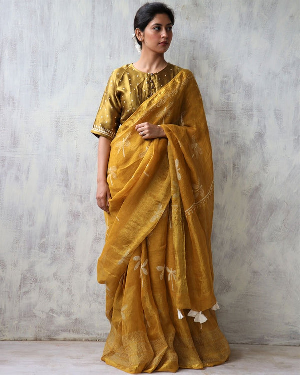 Yellow BlockPrinted Pure Handwoven Linen Zari Saree