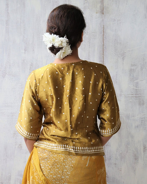 GOLD BLOCKPRINT MASHRU TOP
