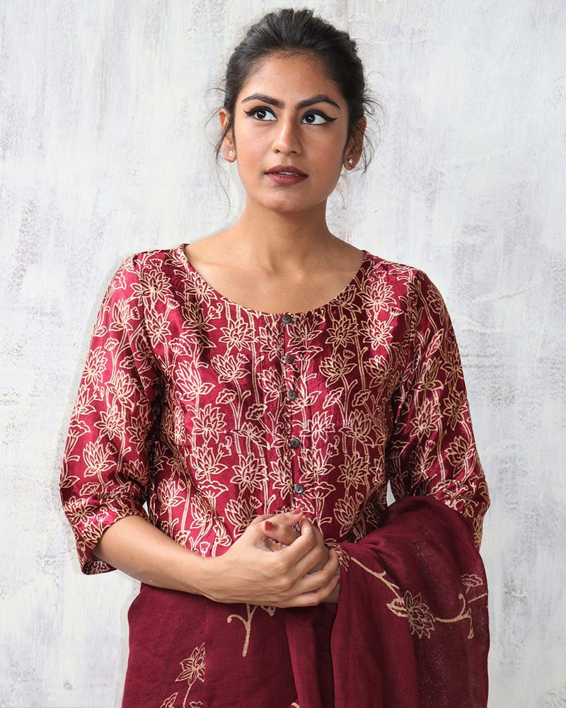 MAROON BLOCKPRINT MASHRU SILK CROP TOP BLOUSE