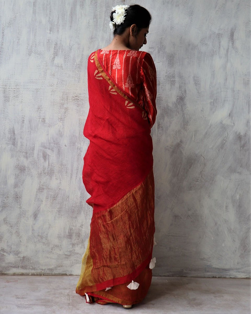 Red BlockPrinted Pure Handwoven Linen Zari Saree