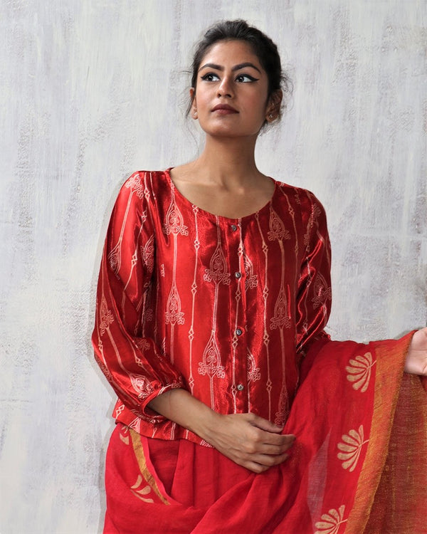 RED BLOCKPRINT MASHRU TOP