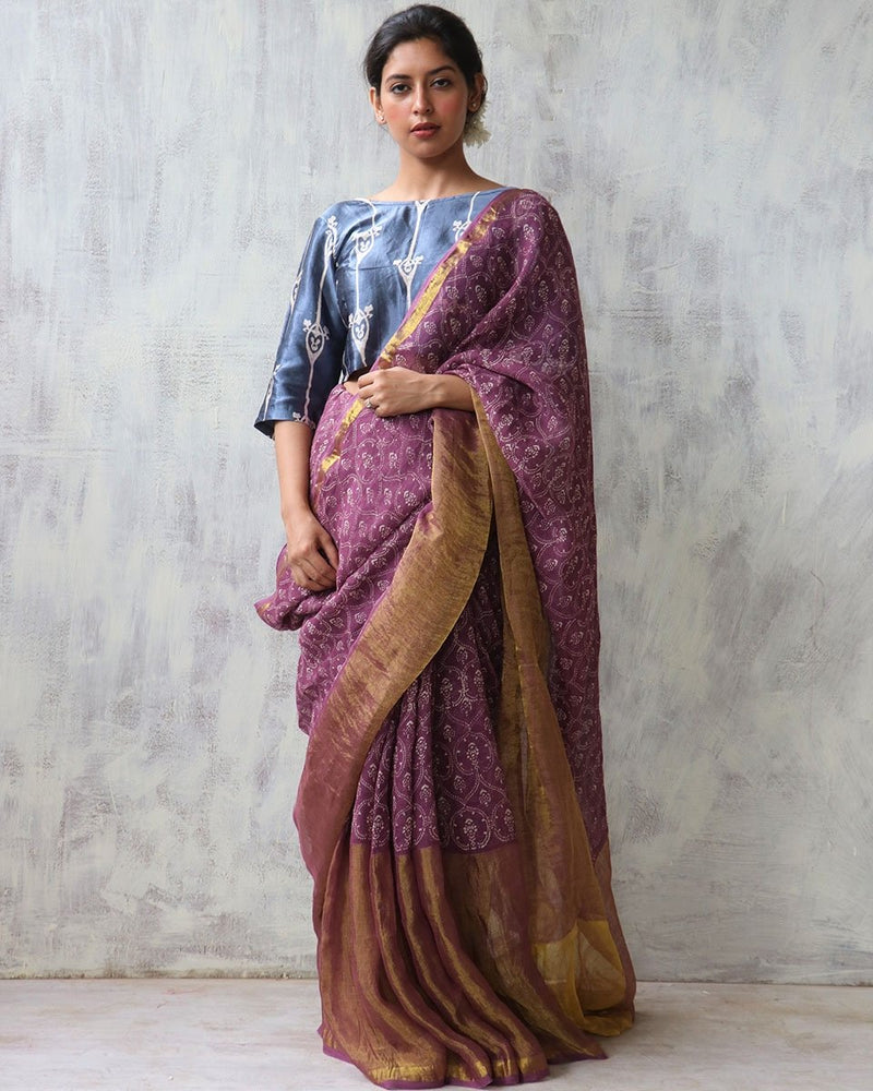 Mauve BlockPrinted Pure Handwoven Linen Zari Saree