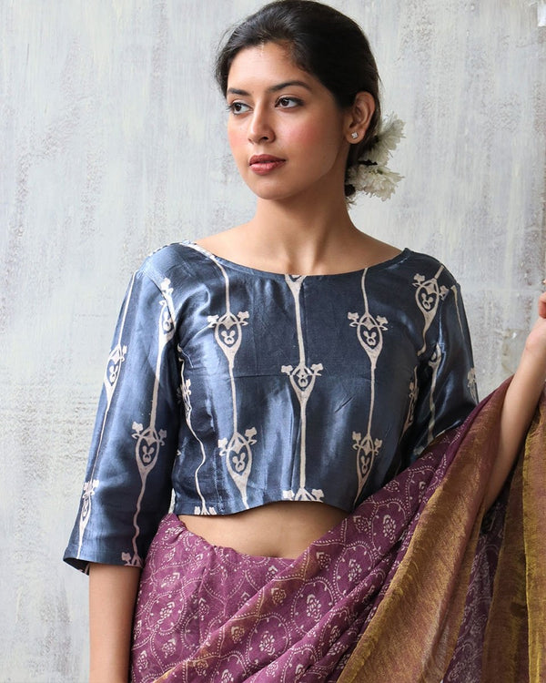GREY BLOCKPRINT MASHRU CROP TOP