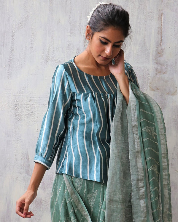 SEA GREEN BLOCKPRINT MASHRU TOP