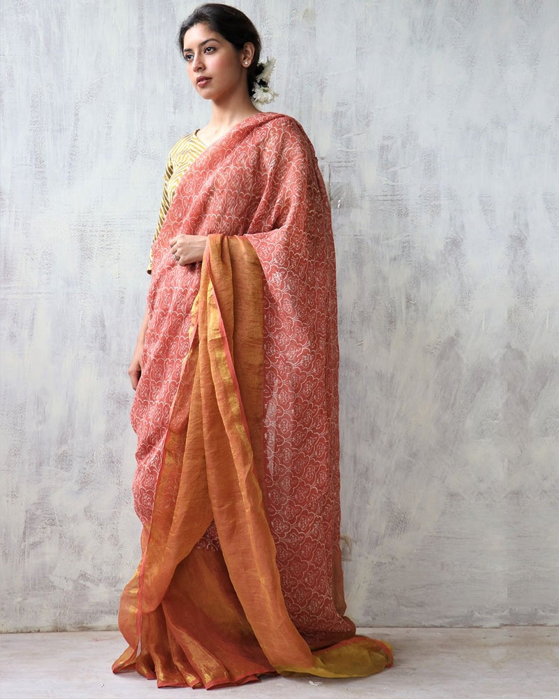 Rust BlockPrinted Pure Handwoven Linen Zari Saree