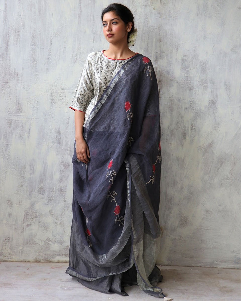 Grey BlockPrinted Pure Handwoven Linen Zari Saree