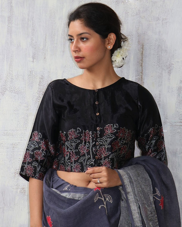 BLACK BLOCKPRINT MASHRU CROP TOP