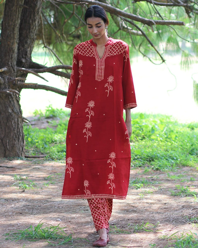 RED BLOCKPRINTED COTTON SILK KURTI