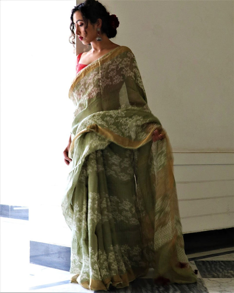 Sab Green Block Printed Pure Handwoven Linen Saree